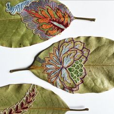 colorful embroidered leaves by artist Hillary Waters Fayles Leave Art, Leather Embroidery, Hand Embroidery, Embroidered Leaves, Tree Carving, Art Carved, Thing 1, Cutwork, Something Beautiful