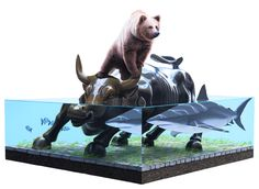 Bear-Shark Josh Keyes Josh Keyes' style is reminiscent of the diagrammatic vocabulary found in scientific textbook illustrations that often express through a detached and clinical viewpoint an empirical representation of the natural world. Assembled into this virtual stage set are references to contemporary events along with images and themes from his personal mythology. http://www.joshkeyes.net/paintings.htm