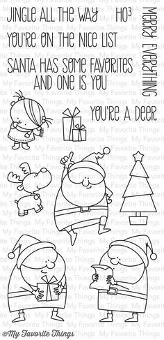 "MFT STAMPS: Jingle All The Way (4"" x 8.5"" Clear Photopolymer Stamp Set) This 13 piece set includes the following elements: - Santa A 1 ½"" x 2 ¼"" - Santa B 1 ¾"" x 2 ¼"" - Santa C 1 ½"" x 2 ½"" - Tree 1"" x"