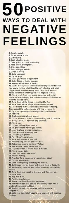 Here's a list of 50 positive ways to cope with negative feelings. It's important… Here's a list of 50 positive ways to cope with negative feelings. It's important to use healthy coping strategies when we're sad, angry, or hurt. Positive Thoughts, Positive Vibes, Quotes Positive, Positive Feelings, Positive Affirmations For Anxiety, Positive Psychology, Negative Emotions, Staying Positive, Positive Outlook