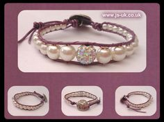 Handcrafted Leather & Glass Pearl Bracelet with Feature AB Crystal Bead