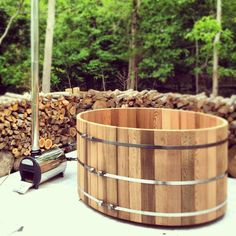 """Continuing my work on the """"earth, air, fire & water"""" theme in our """"back forty"""" out in our summer place in Springs, NY (see yurt raising here), I just (this weekend) finally finished getting the super cool, new wood stove powered hot tub ready for use"""