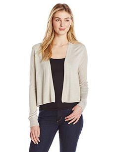 Lark & Ro Women's Long Sleeve Lightweight Short Cardigan Sweater, Khaki Heather, Medium