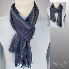 Herren Schal / Loopschal men's scarf Herrenschal - Leichte Schal - blau - SD