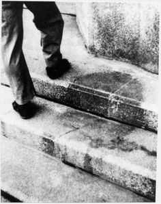 The shadow of a man at the time of the explosion was sitting on the steps in front of the bank, 250 meters from the epicenter. These steps were removed and are now an exhibit at the Hiroshima Peace Park museum, Japan - 1945