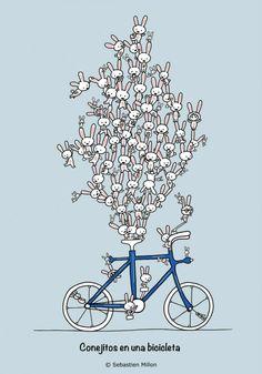 Conejitos en una bicicleta.Por Sebastien Millon.