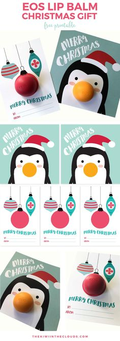 Darling Penguin and Ornaments EOS LIP BALM Christmas Gift FREE Printable Cards - just attach the lip balm for the cutest quick Christmas gift! Neighbor Christmas Gifts, Noel Christmas, Christmas Greetings, Holiday Gifts, Christmas Crafts, Xmas, Christmas Ideas, Winter Holiday, Wrap Gifts