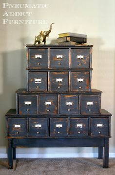 Pneumatic Addict Furniture: from CD cabinet to Library Card Catalog