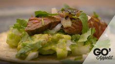 Carne asada, guacamole og brændt habanero salsa