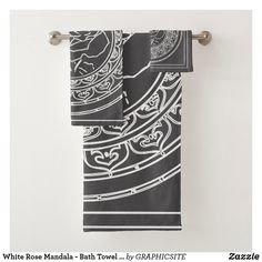 Shop White Rose Mandala - Bath Towel Set created by GRAPHICSITE. Mandala Rose, Geometric Mandala, Mandala Design, Bathroom Art, Bathroom Towels, Bath Towels, Bath Towel Sets, Wedding Announcements, Washing Clothes