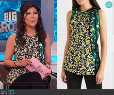 Julie's floral asymmetric blouse on Big Brother Cutout Dress, Lace Dress, Big Brother Style, Scalloped Dress, Bow Blouse, Asymmetrical Tops, Julie Chen, Fashion Outfits, Floral