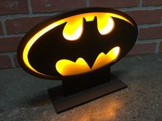 Classic Batman Illuminated LED Comicbook Superhero Table/Desktop Self Standing Logo Night Light for Mancave or Child's Bedroom Batman Boys Room, Comic Book Rooms, Nerd Room, Laser Cutter Projects, Marquee Lights, Wood Lamps, Led Light Strips, Strip Lighting, Lamp Design