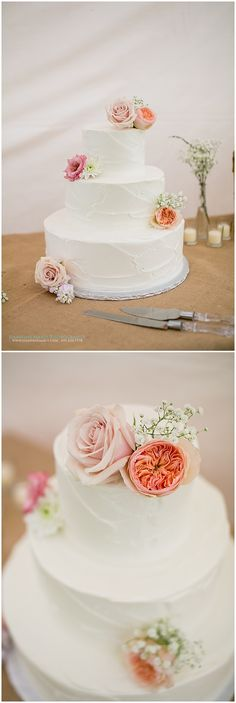 Simple wedding cake for a rustic wedding in Minnesota. Cake by Queen of Cakes in the Twin Cities. Photographed by Saint Paul wedding photographer Jeannine Marie Photography #Queenofcakes #TwinCitiesweddingcakes #TwinCitiesbakery #floralweddingcake #Saintpaulweddingphotographer #jeanninemariephotography #rusticwedding