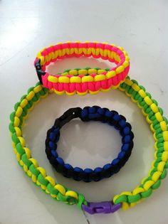 Parachute cord bracelet and dog collar.  Macramé is back! Hip hip hooray!