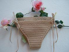 Slip di cotone ecru all'uncinetto-Costume crochet hippie chic a triangolo-Slip…