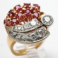 Diamond Cocktail Rings | ... Vintage Old European Cut Diamond & Ruby Cocktail Ring Solid 14K Gold