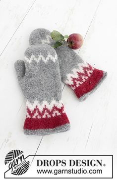 Festive Foraging - Knitted and felted mittens with Nordic pattern for Christmas in DROPS Lima. - Free pattern by DROPS Design Crochet Mittens, Mittens Pattern, Knitted Gloves, Crochet Hooks, Drops Design, Knitting Charts, Knitting Patterns Free, Free Knitting, Free Pattern