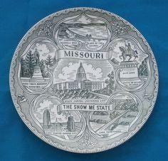 Vintage Missouri Show Me State Souvenir State Plate Green
