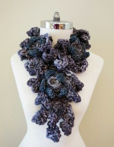 RoseOnie Scarf in a Grey soft bulky Merino by ValerieBaberDesigns