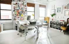 Love the photo/idea wall and the file cabinets