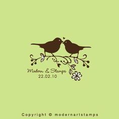 Wedding Stamp   Custom Wedding Stamp   Custom Rubber Stamp   Custom Stamp   Personalized Stamp   Birds in love Stamp   Love Birds   C395