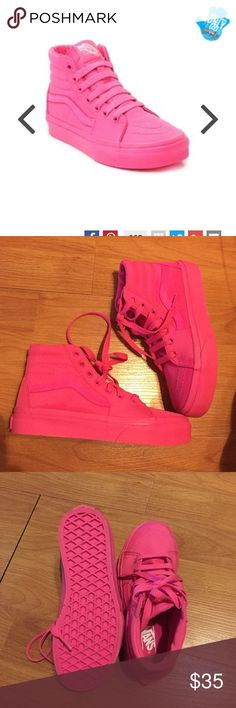 Girls high top pink vans. Nwot NWOT purchased for my daughter they have only been tried on and did not like them do not have box Vans Shoes Sneakers