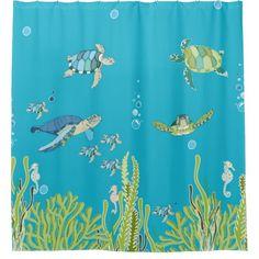 Sea Turtles and Sea Horses / under the sea Shower Curtain