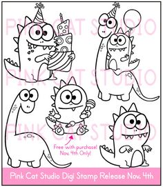 Cards by Patty Tanúz Coloring Books, Coloring Pages, Love Doodles, Cartoon Faces, Sugar Craft, Monster Party, Painting For Kids, Digital Stamps, Colorful Pictures