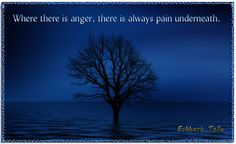 """Where there is anger, there is always pain underneath."" Eckhart Tolle"