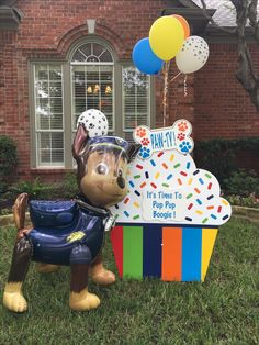 """It's s a Paw Patrol """"Paw-ty""""! It's time to Pup Pup Boogie! Call Storks & More of Dallas and Abilene to rent your Birthday Cupcake yard sign today! Storks & More of Dallas and Abilene Dallas Abilene Paw Patrol Cupcakes, Paw Patrol Party, Paw Patrol Birthday, 3rd Birthday Parties, Birthday Cupcakes, 2nd Birthday, Cupcake Signs, Paw Paw, Boss Baby"""