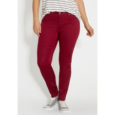 maurices Denimflex™ Jegging In Rose Petal, Women's, Jegging ($39) ❤ liked on Polyvore featuring plus size women's fashion, plus size clothing, plus size pants, plus size leggings, cotton trousers, jeggings pants, rose pants, red cotton pants and denim leggings