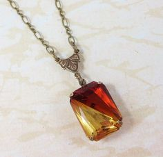 Topaz Necklace Pendant Geometric Two Toned by dfoxjewelrydesigns