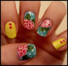 Inspired By: Cath Kidston. Love these nails! Full post and more pictures on the blog.