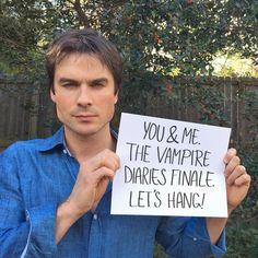 Ian Somerhalder - 16/02/17 - I'll bring the popcorn, you bring yourself. I've even got your flights and hotel covered. So what do you say, will YOU watch the series finale of The Vampire Diaries with me? Anyone? Click the link in my bio or go to Omaze.com/Ian  All helps a great cause ;) Thank you!  Love, Ian https://www.instagram.com/p/BQlVKW7gbmA/ - Twitter / Instagram Pictures