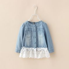 00031 TJ-6J2540 Free shipping 5 pcs/lot Wholesale Children coat autumn round neck lace denim jacket 2-6 years old http://www.aliexpress.com/store/1047972