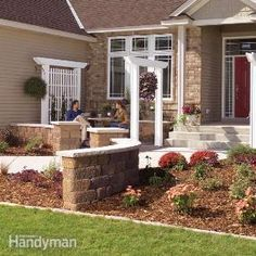 Give the front of your home curb appeal by adding a trellis, arbor and low wall. These projects are all low-cost and easy enough to do yourself. This simple entryway face-lift will make your home more inviting and add value when it comes time to sell.