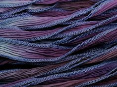 Hand-Dyed Silk Ribbon Blue/Plum Blend (32-36 Inches)