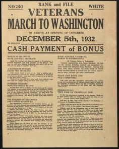 """THE BONUS ARMY ~ According to journalist and eyewitness Joseph Harsch, """"This was not a revolutionary situation. This was a bunch of people in great distress wanting help.… These were simply World War I vets who were out of luck, out of money, wanted to get their bonus — and they needed the money at that moment.""""  Public opinion denounced Hoover for the resulting bloodshed. Audiences in movie theaters booed newsreel footage of the military expelling the Vets . . ."""