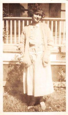 Photograph Snapshot Vintage Black and White: Woman Dress Porch Smile 1920's
