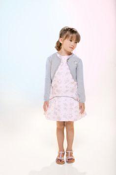 Tartine et Chocolat Spring Summer 2014 girl grey cardigan and light pink dress with grey floral print #grey #gray #tartineetchocolat #SS14 #spring #summer #springsummer2014 #childrens #kids #childrenswear #kidswear #kidsfashion #girls #boys
