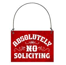 DECO Mini RED Sign NO SOLICITING SIGN Door Bell Hanger Ornament USA Cottage NEW