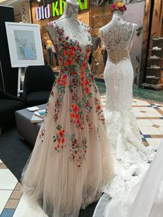 Floral on nude flowy Rene H Couture gown