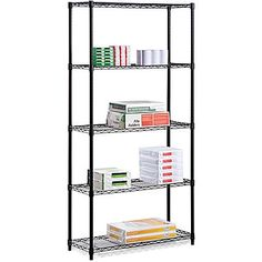 "STAPLES  Honey Can Do 5-Shelf Metal Shelving Storage Unit, Black 14""X36X72"