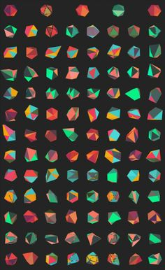 Generative Mass Customized Branding for IMPROVED by Dimitrie Andrei Stefanescu (processing. The shape of the logo is based on a icosahedron with moving vertexes; colors from 3 palettes are random. Shape Patterns, Textures Patterns, Color Patterns, Print Patterns, Code Art, Branding, Logo Design, Graphic Design, Ex Machina