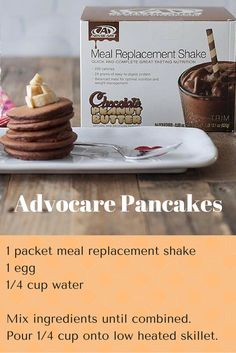 Chocolate Peanut Butter Advocare Pancakes - high protein, balanced nutrition. Chocolate peanut butter shakes are my favorite, but other flavored can be used. Order on our website or contact us to learn more about AdvoCare.
