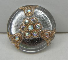 Elegant Rhinestone Czech Glass Button by MostlyButtons on Etsy