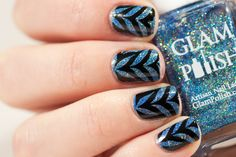 Black and Blue Marble Nails