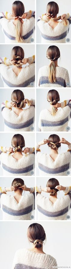 "Low Messy Bun Step-By-Step: super easy hair tutorial, on how to achieve this eas., Easy hairstyles, "" Low Messy Bun Step-By-Step: super easy hair tutorial, on how to achieve this easy updo. Source by annakneivel. Hair Styles 2016, Curly Hair Styles, Braided Bun Hairstyles, Easy Hairstyles, Hairstyle Ideas, Hair Ideas, Popular Hairstyles, Latest Hairstyles, Hairdos"