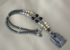 Black Lace Picasso Pendant, Onyx, Jade and Hematite Long Beaded Necklace