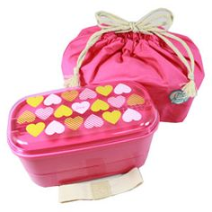 Love Heart Pink 2 Tier Bento Box w/ Chopsticks  Elastic Band  Kinchaku bag
